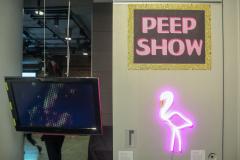 Sign reading peep show