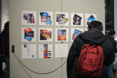 Collages of New York City streets in background with gallery patron listening to corresponding music