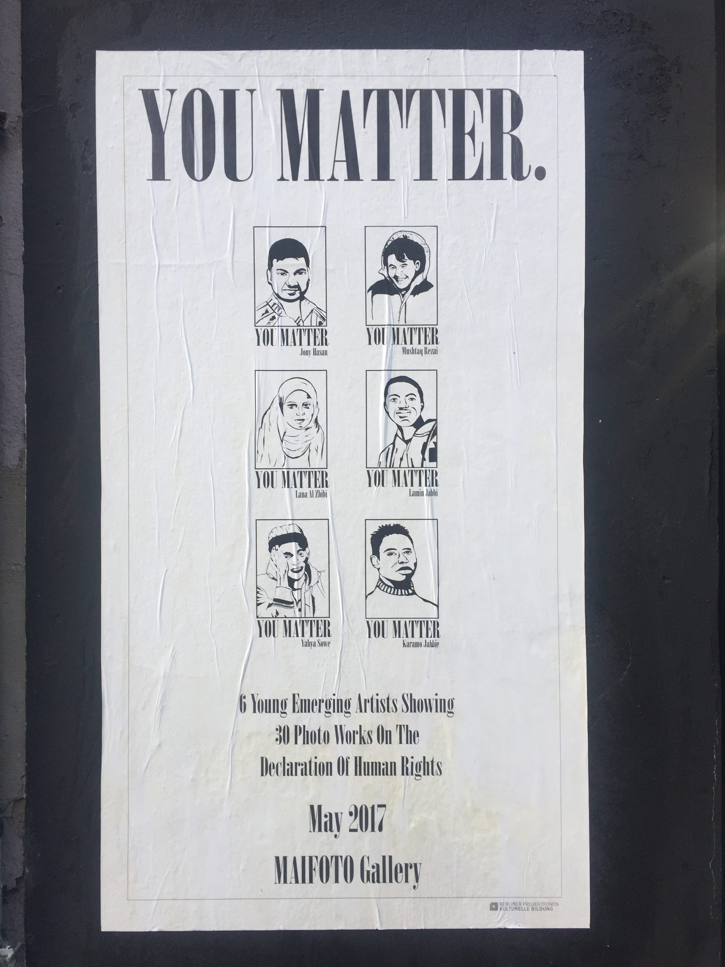 "poster reading ""You Matter"" with drawings of artists"