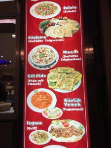 menu showing meal options