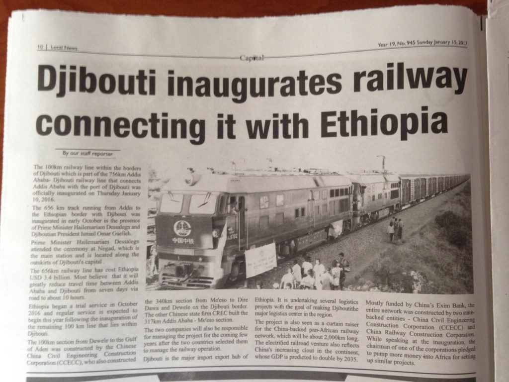 Newspaper on Djibouti's inauguration with Ethiopia