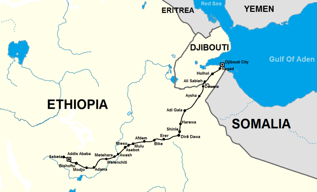 Map of Addis Ababa Djibouti Railway