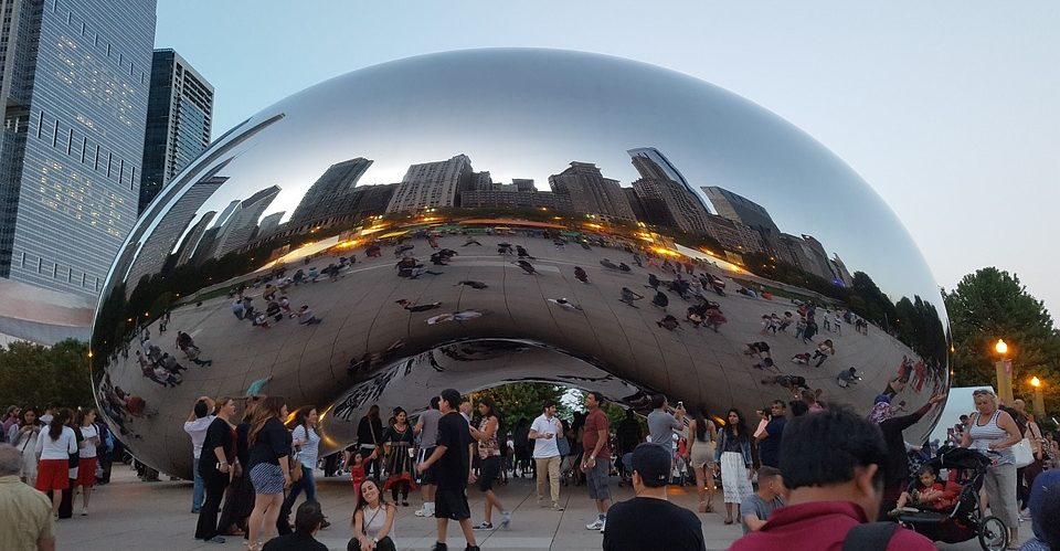 "Cloud Gate: a stainless steel public sculpture nicknamed ""the bean"" because of its shape."
