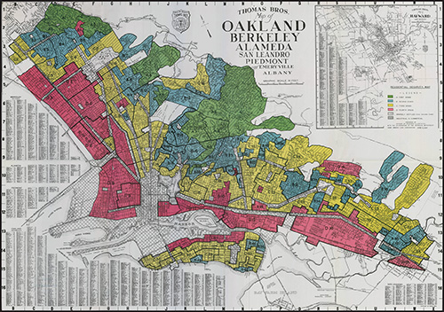 Map of Oakland in Alameda County, California.