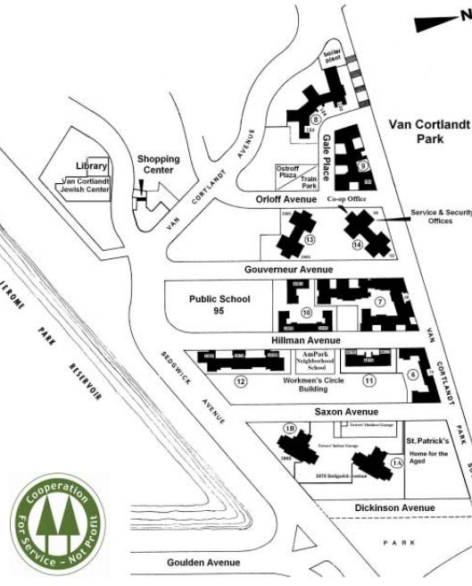 Map of Van Cortlandt Park.