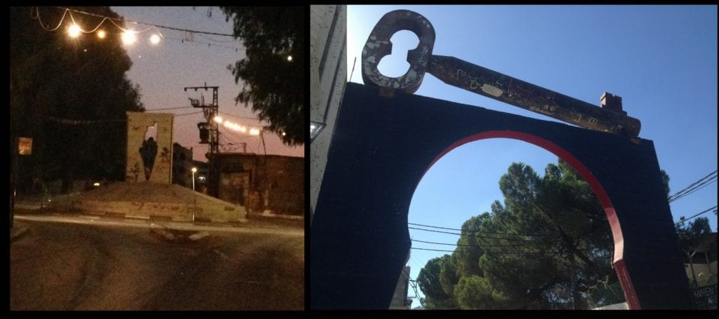 diptych showing street at night and key sculpture above archway