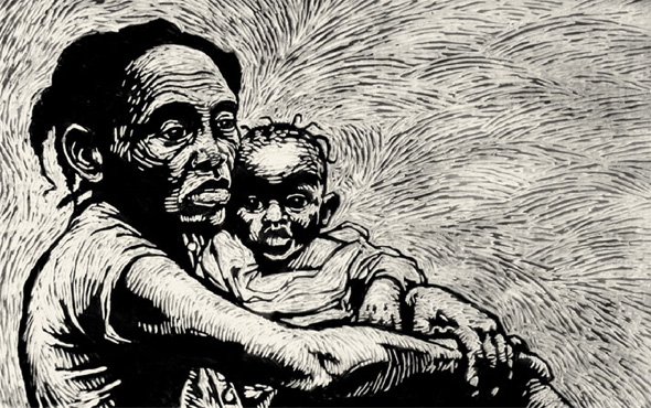 A black and white shaded drawing of a pensive mother holding a young boy