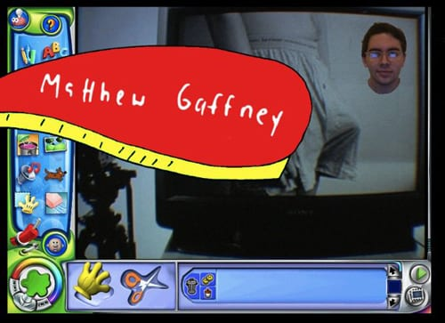 "A man photoshopped on a game interface reading ""Matthew Gaffney"""