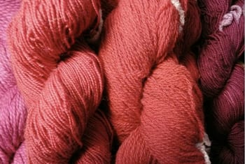 Coral and hot pink yarn
