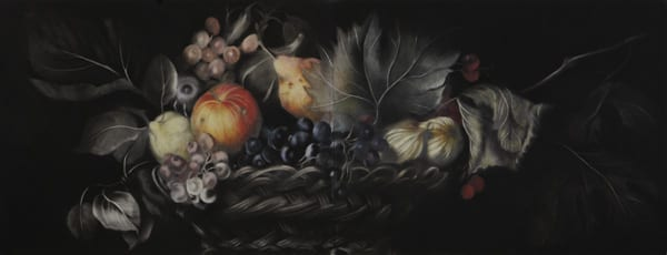 Painting of a basket of fruits and flowers. Background is black.