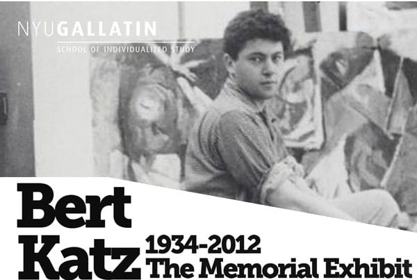 "A photo of Bert Katz on a poster reading ""Bert Katz 1934-2012 The Memorial Exhibit"""