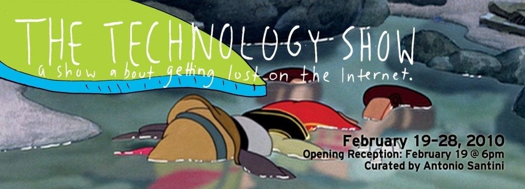 "A cartoon figure fallen faced down in a pool of water and text reading ""The Technology Show: a show about getting lost on the Internet"""