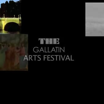 "Poster with black background and a photo of a bridge and some kids reading ""The Gallatin Arts Festival"""