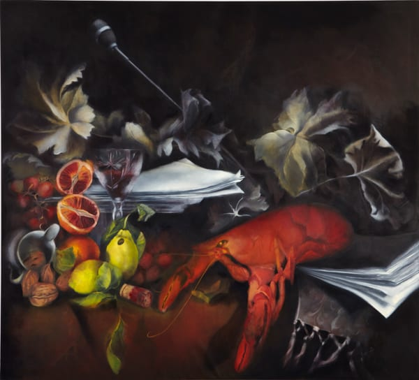 Painting of various fruits, flowers, and a red lobster.