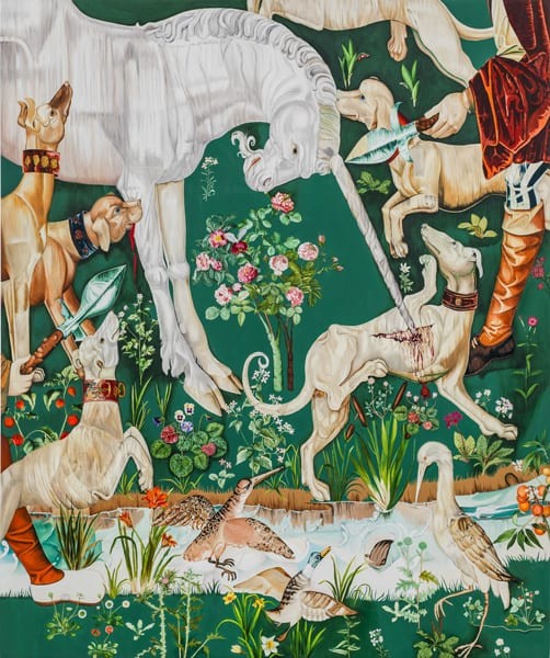 Graphic poster of many animals fighting each other with green background and various flowers. Animals include, dogs, a unicorn, and various swans.