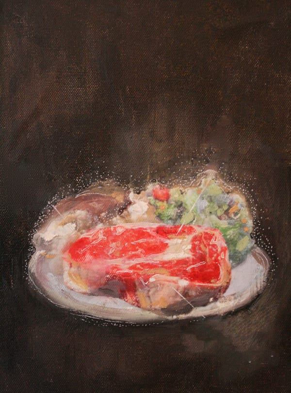 Painting of a portrait of a plate of steak and vegetables.