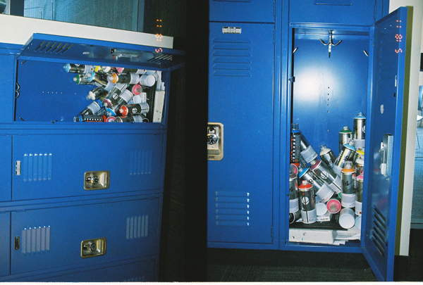 Photo collage of blue locker with spray cans inside