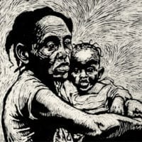 Black and white print of woman holding a baby