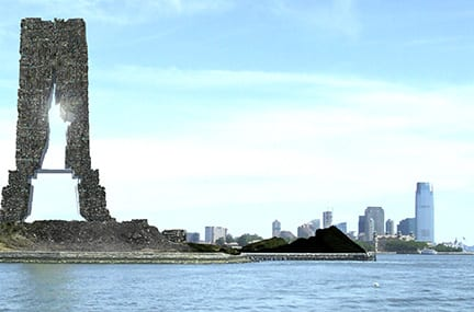 Landscape of river with cityscape in the background. Sculpture of the Statue of Liberty's frame stands in the left of the image