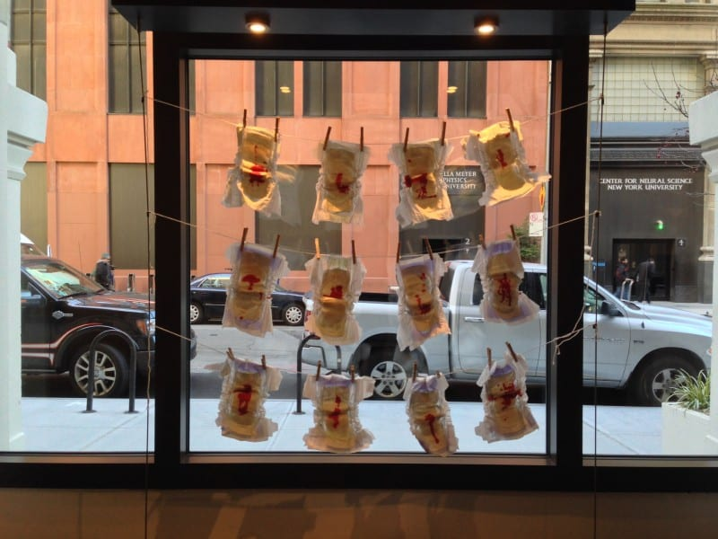 12 diapers hung on string and clothes pin in front of gallery window.