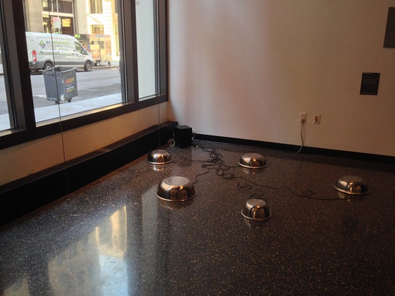 5 sound bowls placed on gallery floor
