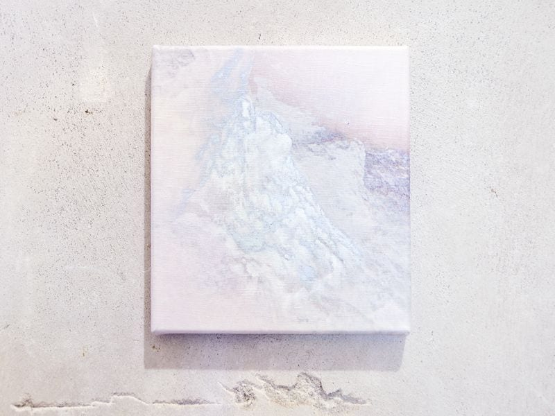 Marble white, blue, and pink abstract painting