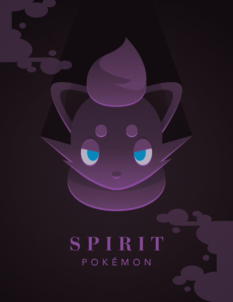 "Graphic image of pokemon character. Text states"" Spirit Pokemon"""