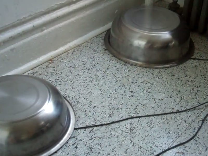 Two sound bowls on the ground