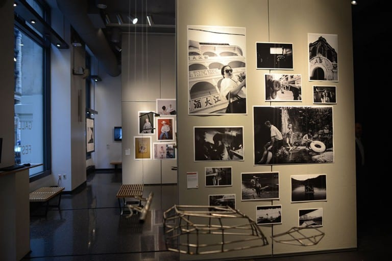 Gallery space: Wall displaying black & white photographs
