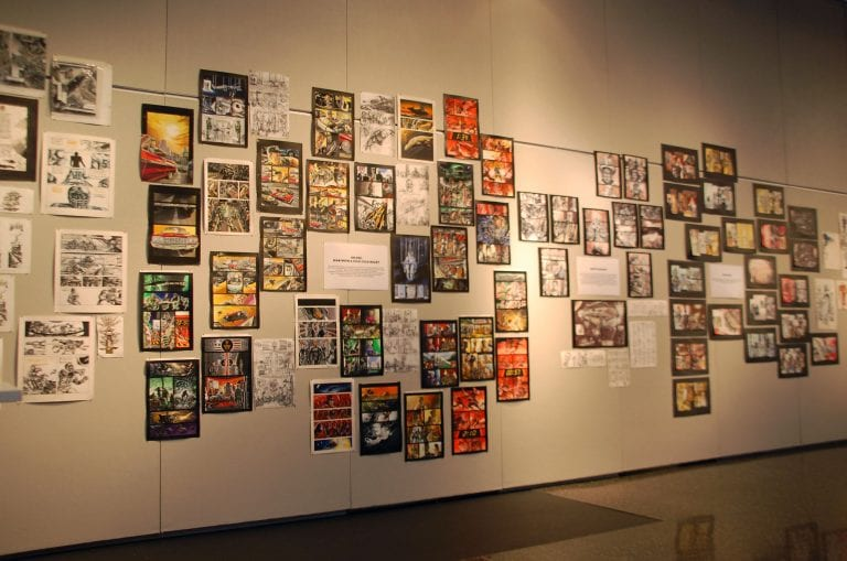 Gallery Wall: Various comic illustrations in color and black & white