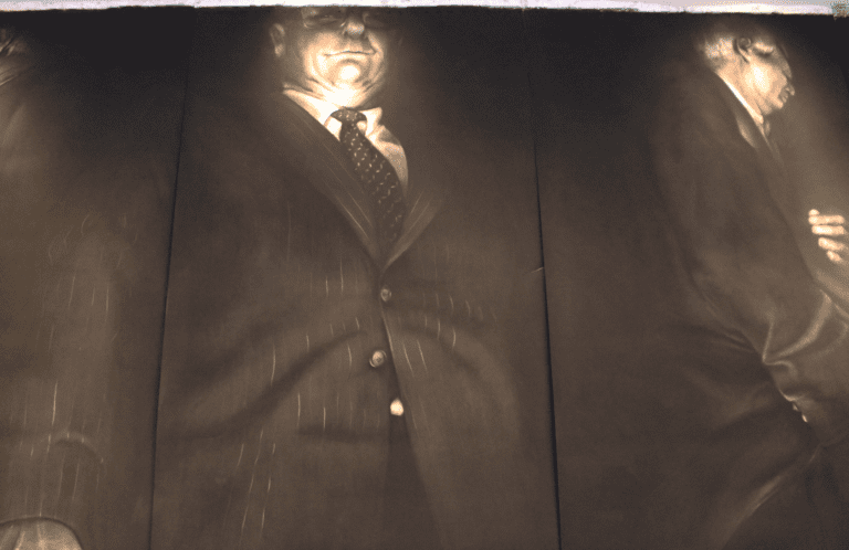 Close-up of man in a suit artpiece