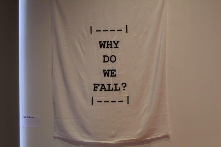 """Flag with text """"Why Do We Fail?"""""""