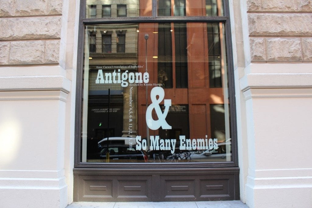 Gallery street window with exhibition title