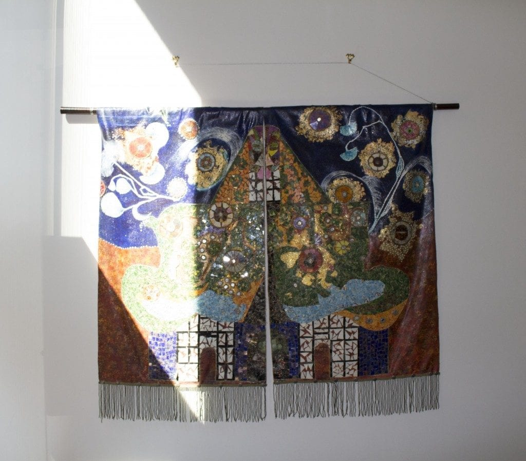 Textile work hung in Gallery