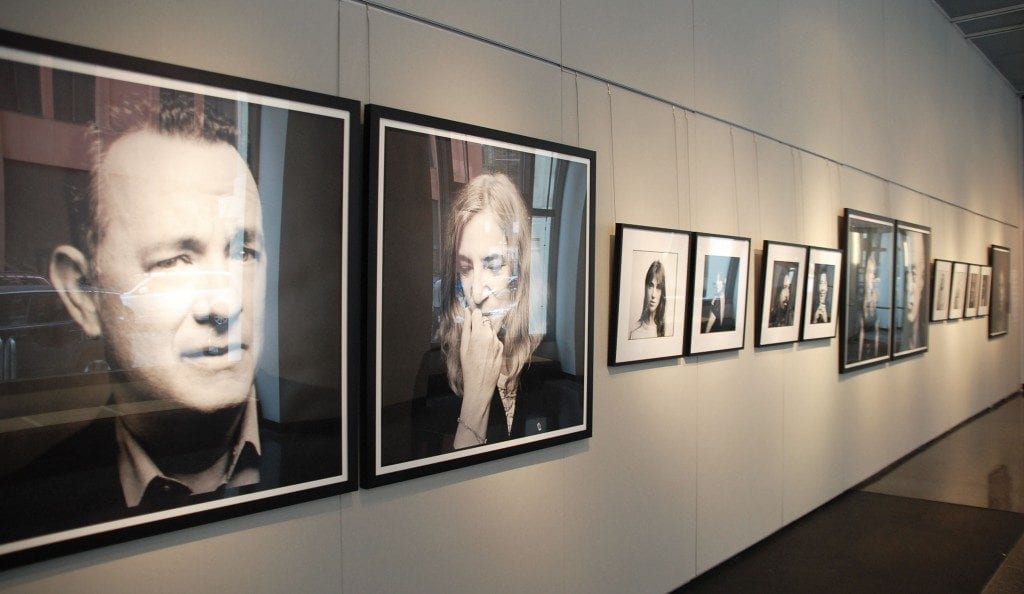 Gallery space: Framed portraits of famous subjects hung on the walls.