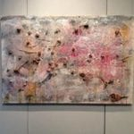 Abstract painting hung on gallery wall