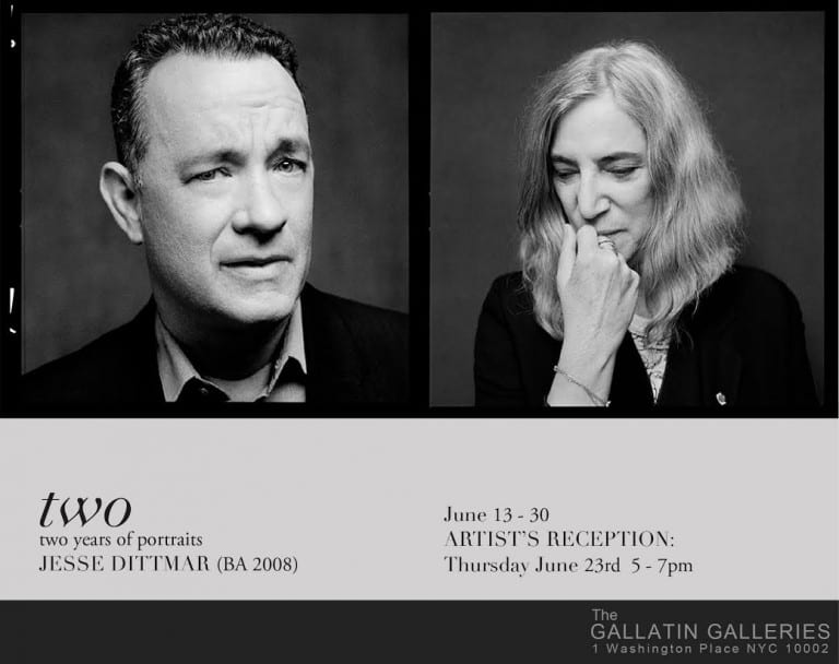 B&W Gallery Postcard: Two portraits, one of Tom Hanks the other of Patti Smith.