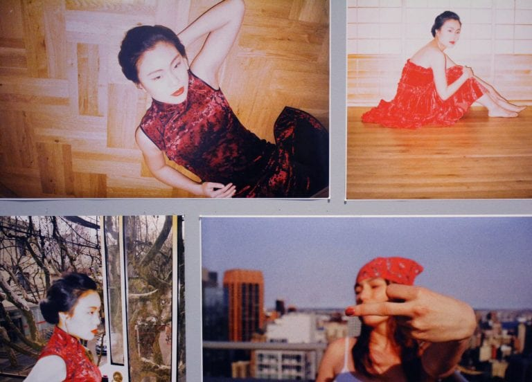 Four photos, three of an east asian woman, and one of a black woman with her middle finger to the camera.