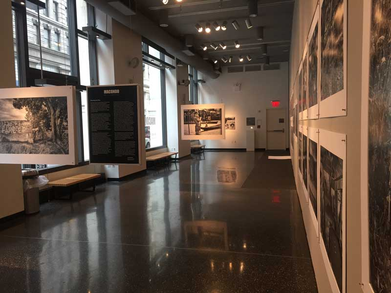 Gallery space with images from exhibition
