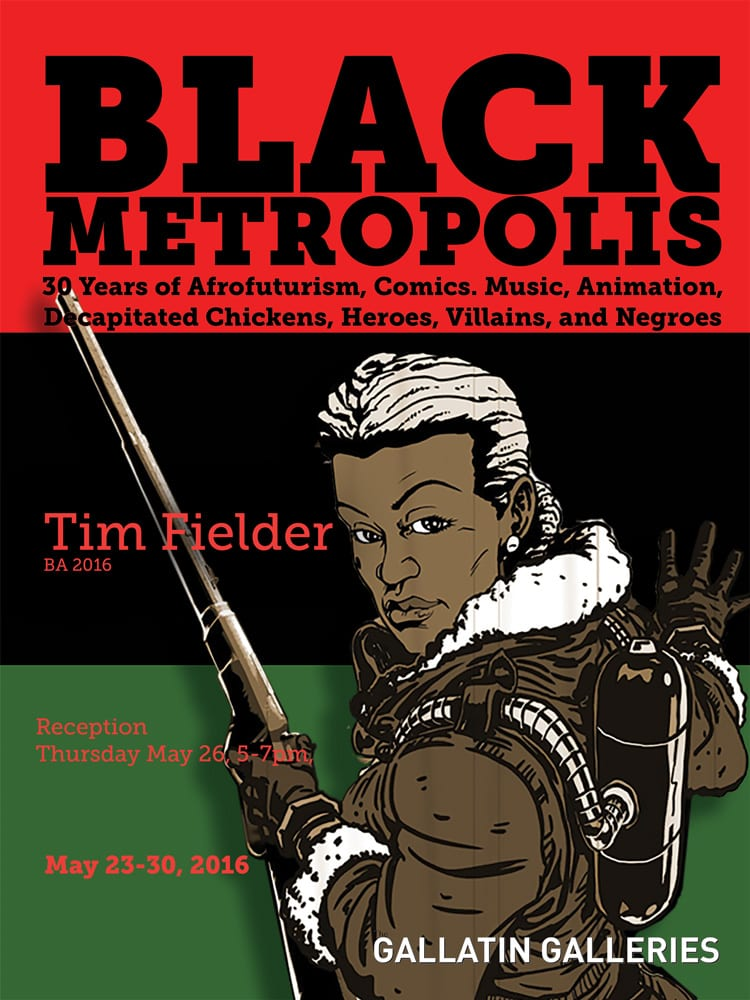 Graphic of exhibition title with background of African American flag and a black female avatar with a gun.