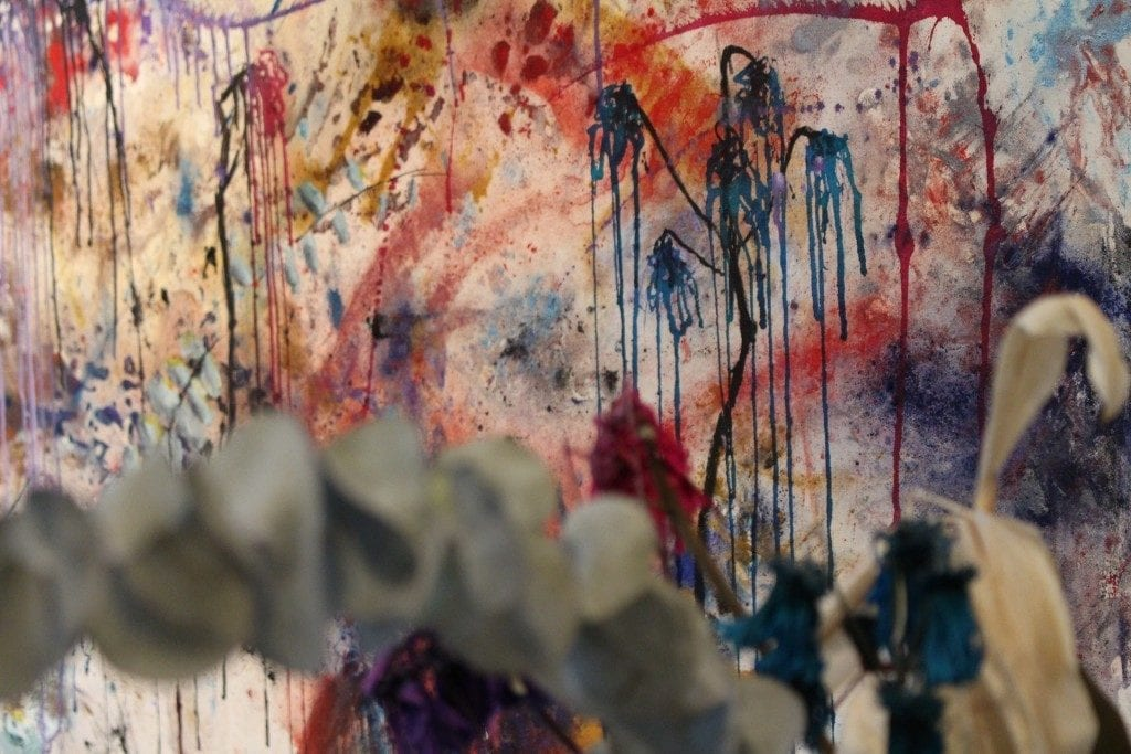 Close up shot of abstract painting on wall
