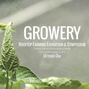"Exhibition graphic with image of green plant with text in white font stating ""Growery rooftop farming exhibition and symposium"""