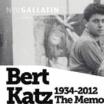 "Black & white portrait of Bert Katz in Studio with text in black font stating"" Bert Katz 1934-2012 The Memo"""