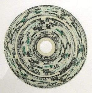 Various dollar bills forming a circle