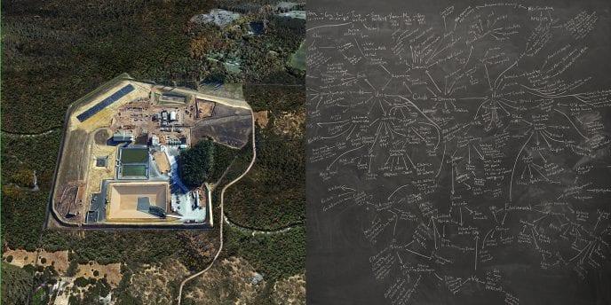 landscape image juxtaposed with blueprint sketch