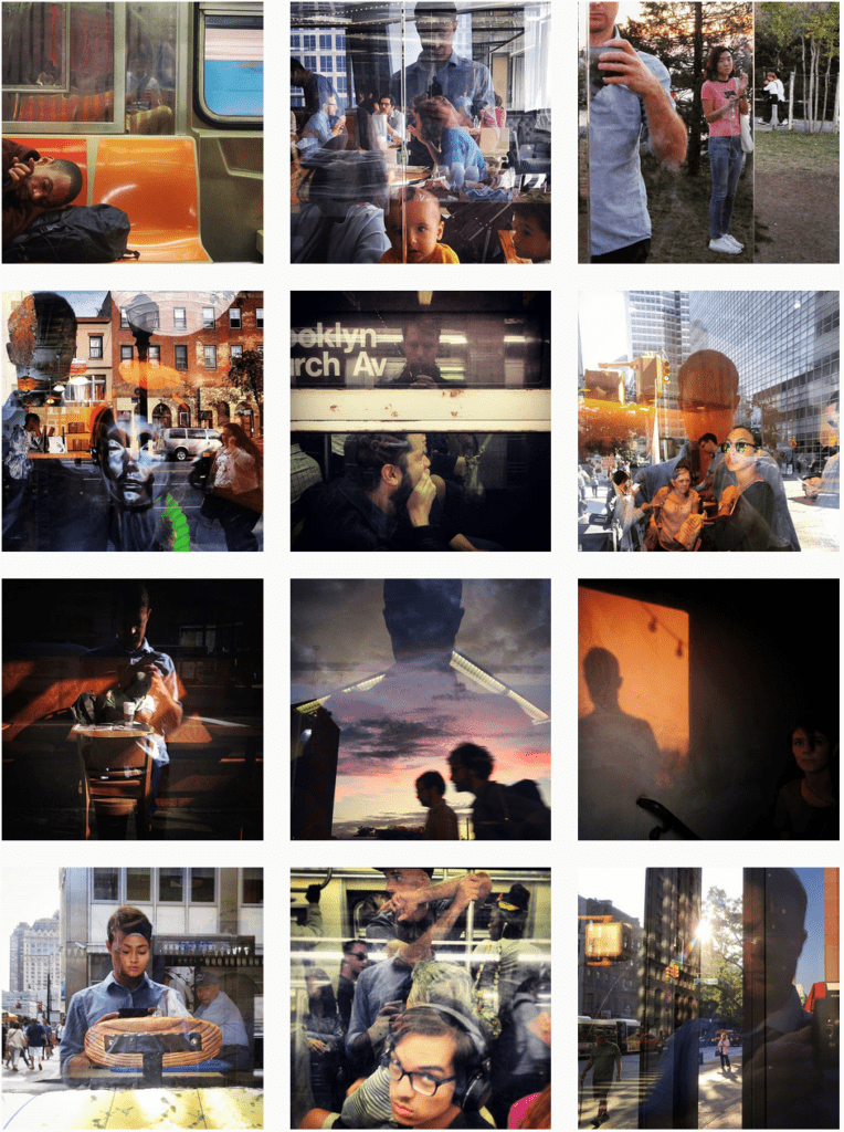 Photo collage of various portraits of subjects in New York, unaware of being photographed