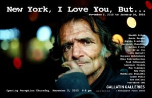 """Poster of a man solemnly looking into camera with cityscape background. Text reads """" New York, I Love You, But.."""" along with the date and various artists involved."""