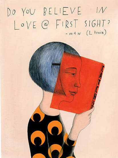 """Graphic art of woman reading a book. Text above states"""" DO YOU BELIEVE IN LOVE @ FIRST SIGHT? - m4w (L train)"""""""
