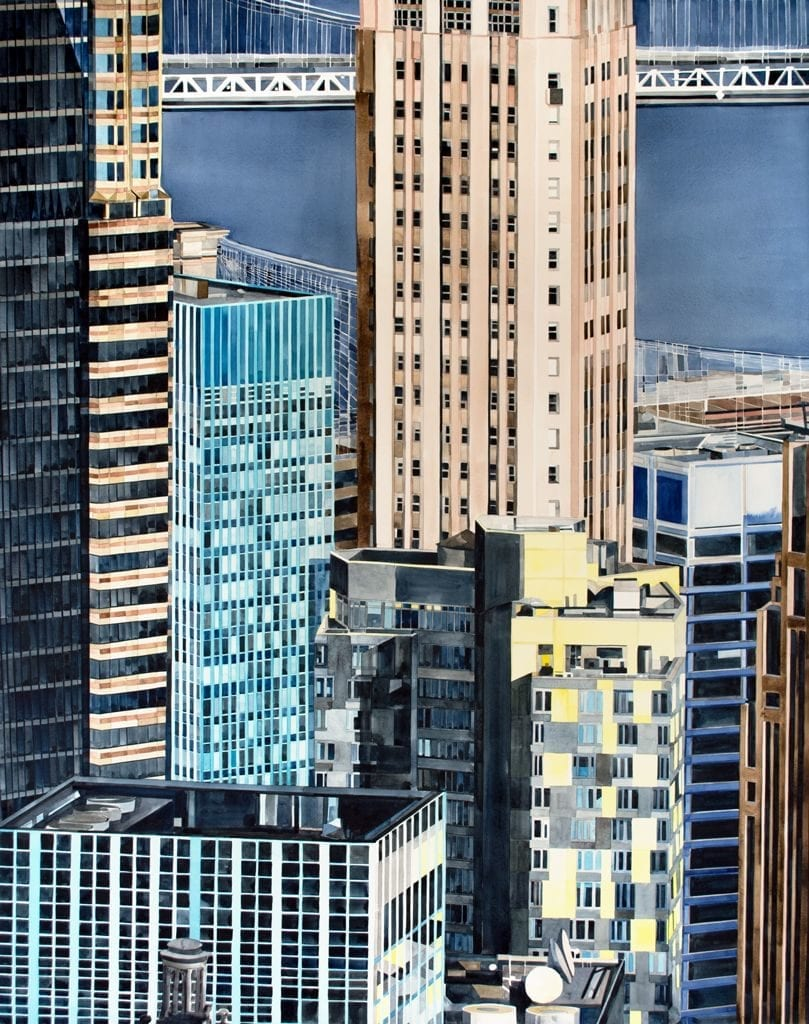 Landscape painting of New York Skyscrappers.