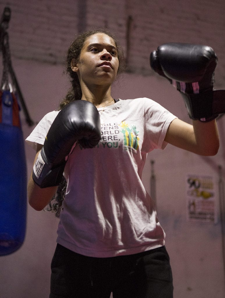 Girl practicing boxing